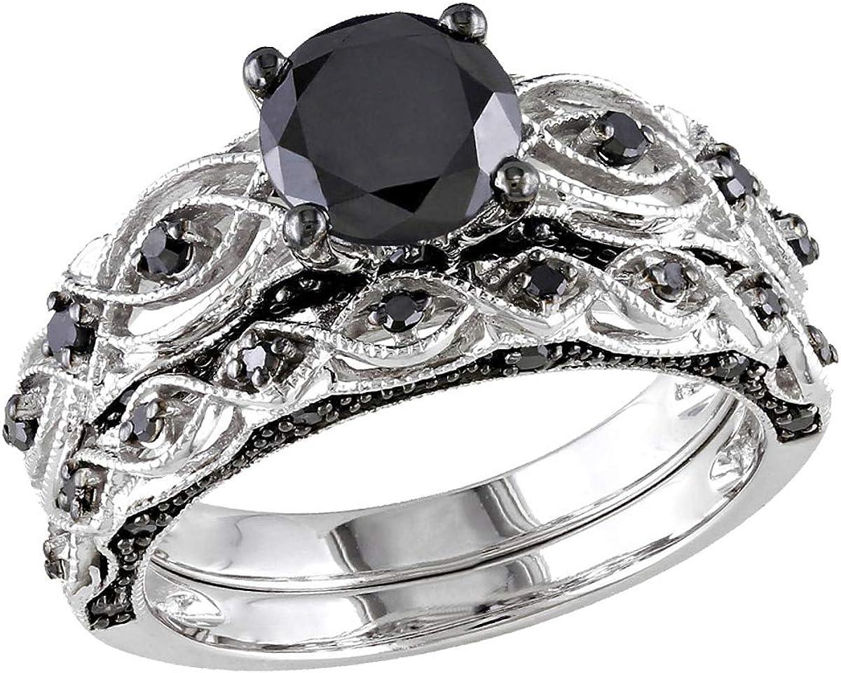 1.39 Carat (ctw) Black Diamond Engagement Ring and Wedding Band Set in 10K White Gold