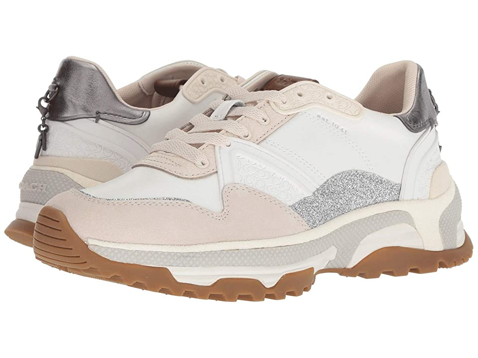 COACH C143 Runner with Glitter (White/Chalk Leather/Suede) Women
