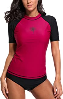 Women's Rash Guard Short Sleeve Swim Shirt UPF 50+ Rashguard Colorblock