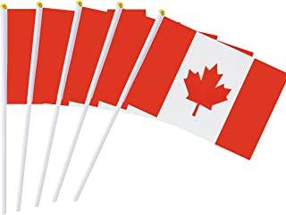 Kind Girl 25 Pack Hand Held Small Mini Flag Canada Flag Canadian Stick Flag Round Top National Country Flags,Party Decorations Supplies for Parades,World Cup,Festival Events,International Festival