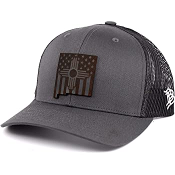 OSFA//Black Branded Bills /'New Mexico Native Leather Patch Hat Curved Trucker
