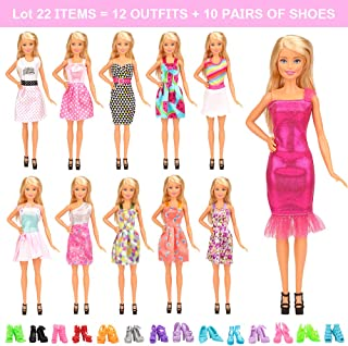 Barwa Lot 22 = 12 Pcs Fashion Dresses Outfits Clothes Summer Dress and 10 Pairs Shoes for 11.5 Inch 30 cm Dolls