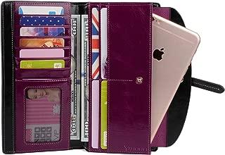 YALUXE Women's Luxury Wax Genuine Leather Wallet Smartphone Holder Purple