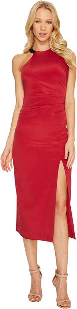 Nicole Miller Silk Ruched Dress w/ High Slit