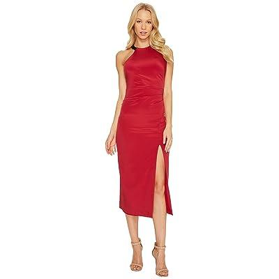 Nicole Miller Silk Ruched Dress w/ High Slit (Crimson Red) Women