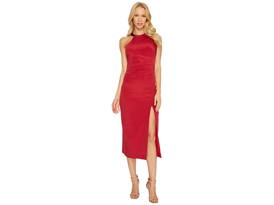 Nicole Miller Silk Ruched Dress w/ High Slit (Crimson Red) Women