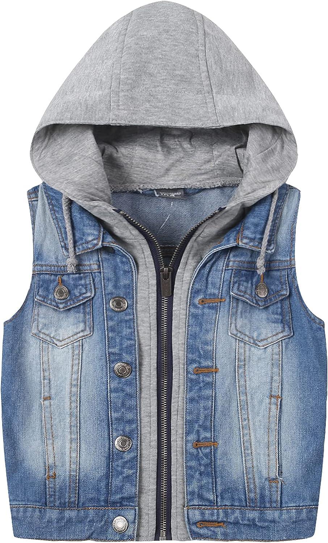 L PATTERN Boys Sleeveless Denim Jacket Girls Jean Vest Hoodies Outwear Child Cowboy Vest Jacket
