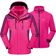 TACVASEN Women's 3-in-1 Ski Jacket Waterproof Snowboard Fleece Inner with Detachable Hood