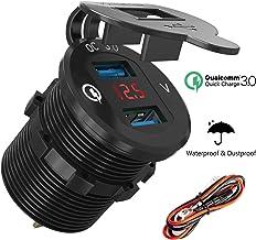 12-24v Wasserdicht Aluminium KFZ Einbaubuchse Adapter mit LED Voltmeter f/ür Auto//Motorrad//Boot//Wohnwagen 3,0 Quick Charge/Auto USB Ladeger/ät Wei/ß ShinePick KFZ/USB/Steckdose