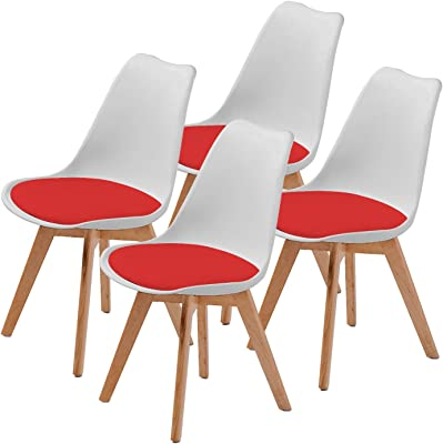 La Bella Replica Eames PU Padded Dining Chair - White & Red X4