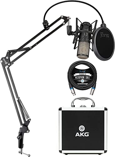 2021 AKG P220 Cardioid Condenser Microphone for Vocals, Pianos, Horns, Woodwind and String Instruments Bundle with 2021 Blucoil 10-FT Balanced XLR Cable, new arrival and Boom Arm Plus Pop Filter online sale