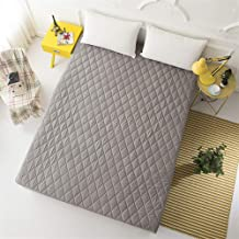 Liveinu Waterproof Quilted Fitted Mattress Pad Fleece Mattress Cover Protector Mattress Topper Stretches 150x200cm Gray