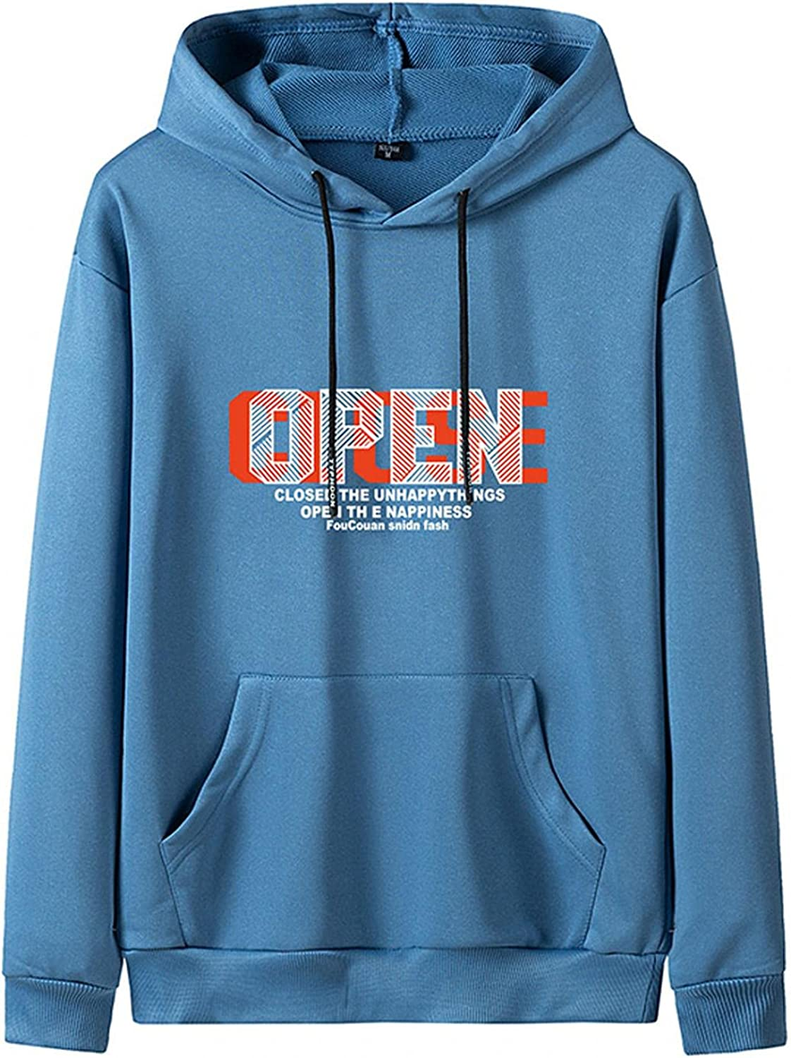 Huangse Open The Happiness Men's Hoodie Letter Print Casual Loose Fit Pullover for Men Hip Hop Street Trend Sweatshirt