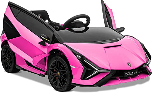 popular Kidzone Kids 12V Electric Ride On Licensed Lamborghini Sian Roadster online Motorized Sport Vehicle with 2 Speed, Remote Control, Wheels Suspension, LED popular Lights, USB/Bluetooth Music, Engine Sounds, Pink online