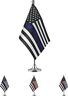 TSMD Thin Blue Line USA American Police Flag Small Mini Honoring Law Enforcement Officers Table Desk Flags with Stand Base,Police Theme Party Event Decorations