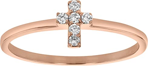 Olivia Paris Tiny Diamond Cross Ring in 14k Rose White and Yellow Gold (0.08 cttw, H-I Color, SI2-I1 Clarity)