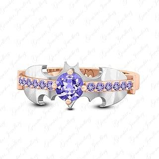 Gemsta Jewellery Dark Knight Batman Wedding Ring Round Tanzanite 18K Rose & White Gold Finishing