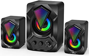 Computer Speaker with Subwoofer, NJSJ G3 USB-Powered 2.1 Stereo Multimedia Speakers System with RGB LED Light 3.5mm Audio ...