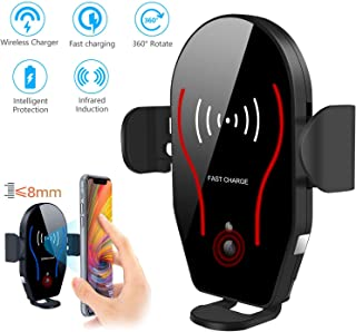 EEEKit Wireless Car Charger, Automatic Infrared Sensing Clamping Car Phone Mount, 10W Qi Fast Charging Air Vent Phone Holder for S10/S10E/S9/Note 9, Phone Xs Max XR X 8 Plus,fit 4.5-6.5inch Phone