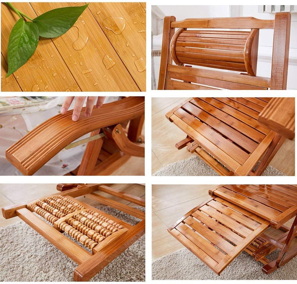 SGSG Fauteuil à Bascule inclinable en Bambou Chaise Longue Pliante Chaise de Jardin réglable pour Vieil Homme avec Fauteuil et Massage des Pieds, Coussin en Coton Amovible Purple