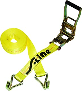 S-Line 557WHK Ratchet Strap Tie Down with Long Wide Handle and J-Hooks, Yellow Webbing, 2-Inch by 27-Foot, 3,333-Pounds Working Load Limit