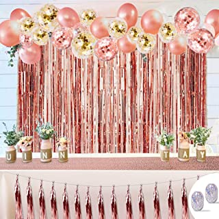 Rose Gold Party Decorations Set Balloons Party Supplies Pack of 50pcs including Balloons, Tassel Garland, Foil Fringe Curtains, Sequin Table Runner, Ribbons, Perfect for Bridal Shower, Baby Shower, Birthday Party, Wedding, Chritsmas parties