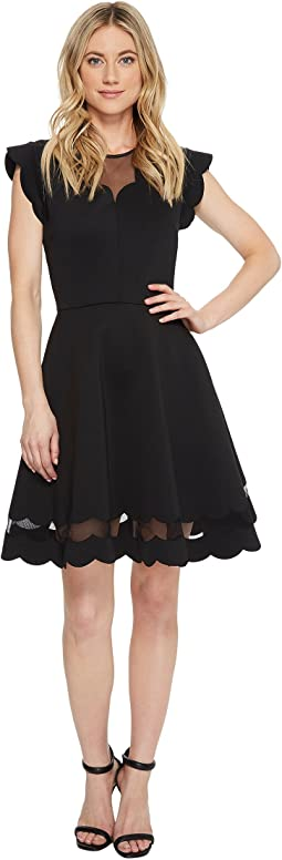 Sharlot Mesh Paneled Scallop Dress