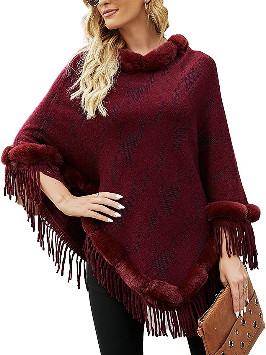 Womens Poncho Sweater Knitted Pullover Loose Shawls Wraps Capes with Fringe Top