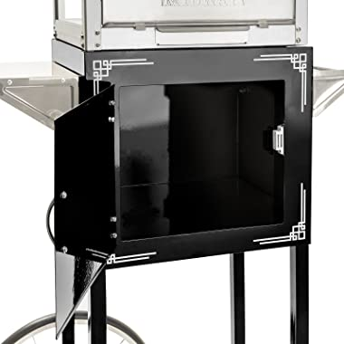 Olde Midway Vintage Style Popcorn Machine Maker Popper with Cart and 10-Ounce Kettle - Black