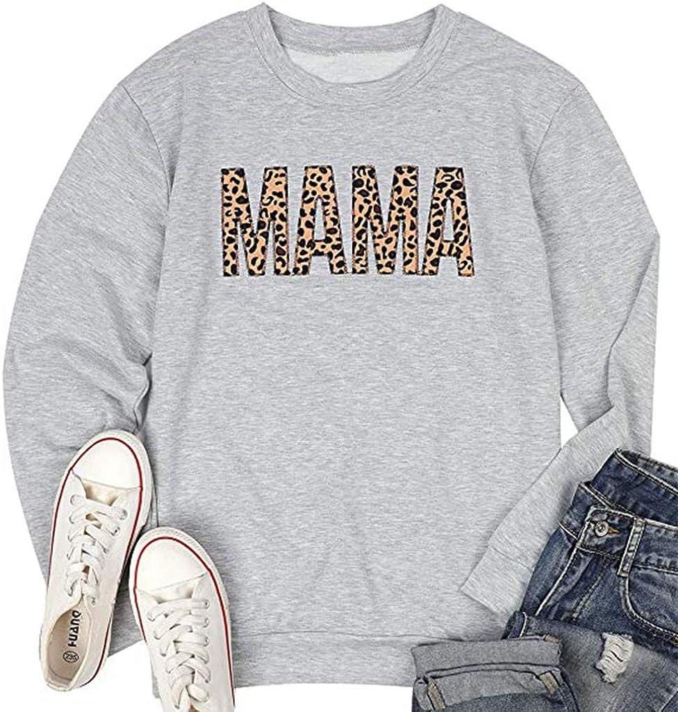 POLLYANNA KEONG Long Sleeve Shirts for Women, Crewneck Sweatshirts Color Block Printing Pullover Tunic Tops