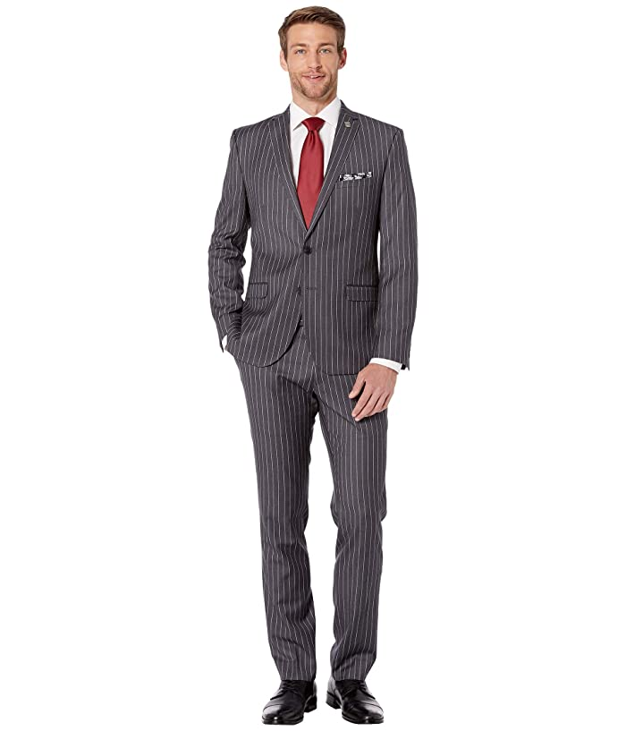 Men's Vintage Style Suits, Classic Suits Nick Graham Pinstripe Suit Grey Stripe Mens Suits Sets $153.19 AT vintagedancer.com