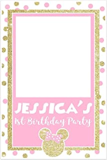 Minnie Pink and Gold Selfie Frame Social Media Frame Photo Booth Prop Poster