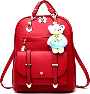 Backpack Purse for Women Large Capacity Leather Shoulder Bags Cute Mini Backpack for Girls,Burgundy