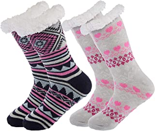 (2 Pack) Womens Thick Knit Sherpa Fleece Lined Thermal Fuzzy Slipper Socks With Grippers