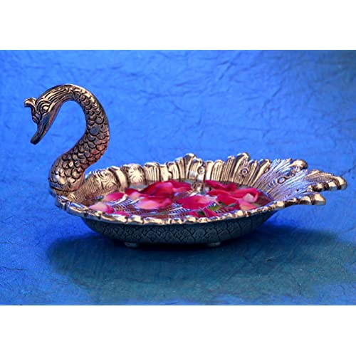DreamKraft Metal Duck Shaped Dry Fruit Tray for Dining Table Decoration (Silver)