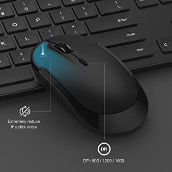 Wireless Keyboard and Mouse, seenda 2.4GHz Ultra Thin Full-Sized Silent Wireless Keyboard Mouse Combo with Number Pad...
