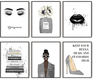 Glam Gray Fashion Wall Decor Girls Room Decor Wall Art Silver Perfume Book High Heels Posters Prints Bedroom Decor for Women (8x10 in Unframed)