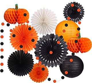 Halloween Party Decorations Supplies Kit Hanging Paper Lantern Tissue Paper Fan Pumpkins Round Garland for Halloween Party Night Thanksgiving Home Decor Indoor Outdoor