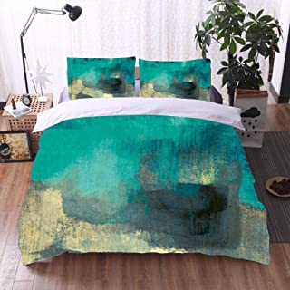 Bedding Set Double Bed 3D Printing Green Abstract Oil Painting 3Pcs Polyester Duvet Cover And Pillowcases Zipper Closure A...