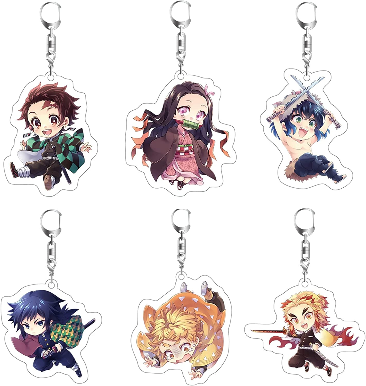 Demon Slayer : Kimetsu no Yaiba Keychains Anime Keychain Sets Cosplay Keyring Cute Pendant Accessories for Kids Teens Fans