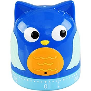 """Home-X Cute Blue Owl Kitchen Timer, Manual, Mechanical Wind-Up Cooking Timer – 2.75"""" L x 2"""" W"""