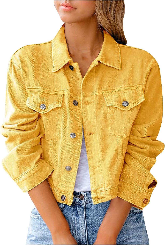 Women's Cute Denim Jacket Long Sleeve Loose Button Down Crop Coat Casual Jean Classic Trucker Jacket with Pockets