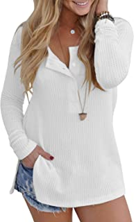 Women's Casual Long Sleeve Shirts Side Split Loose Blouse Tops