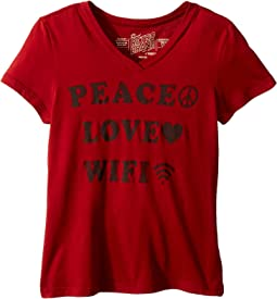 Peace Love Wifi Short Sleeve Cotton V-Neck (Big Kids)
