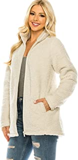 Revol Sudadera de forro polar con cremallera para mujer, de manga larga, con bolsillos