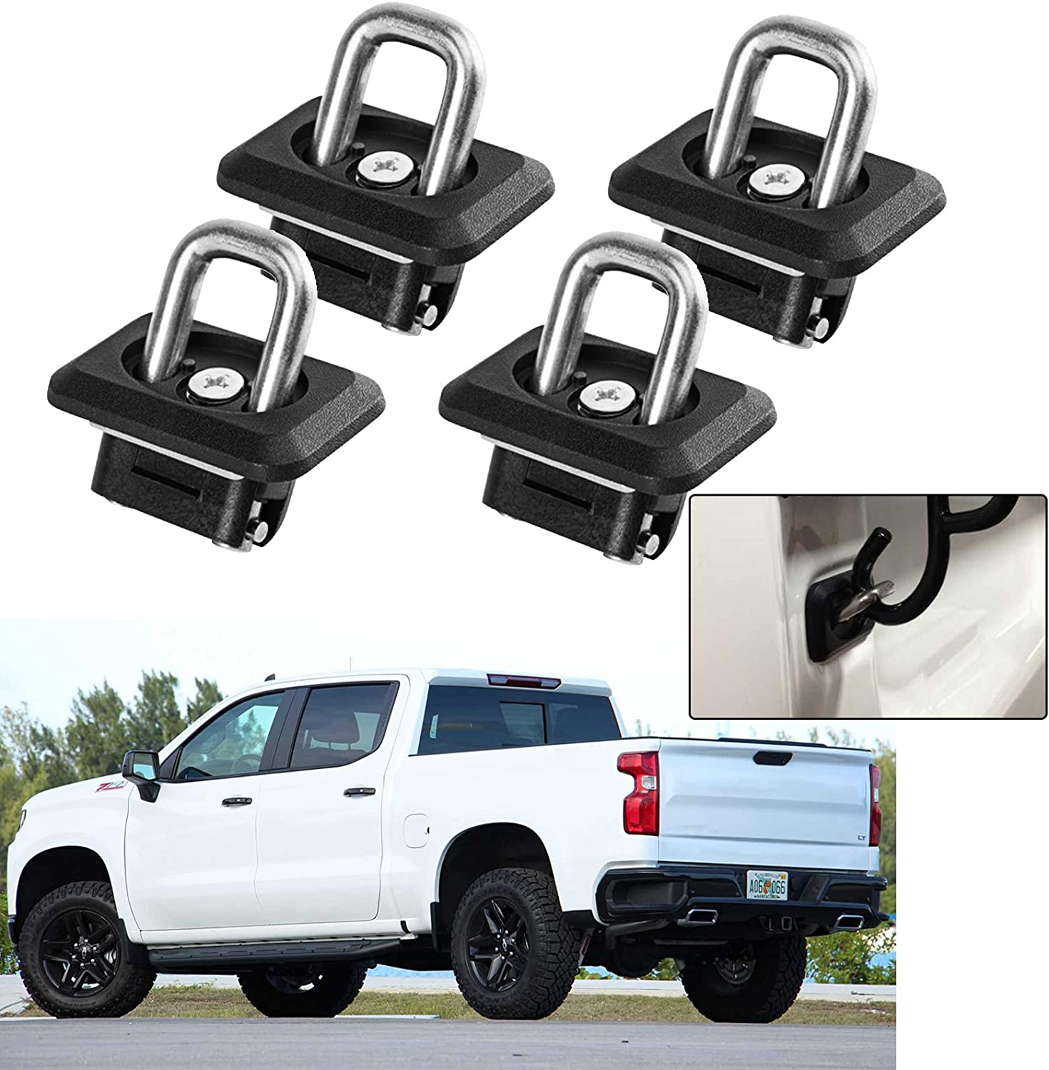 1 Pair 2015-2020 Colorado /& Canyon Truck Bed Side Wall Anchors Fit for 2007-2020 Chevy Silverado /& GMC Sierra 1500 2500 3500 Eleven Guns Retractable Tie Down Anchors