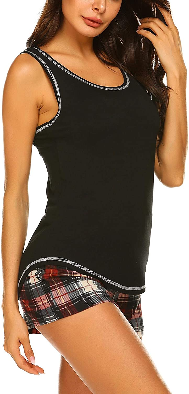 Ekouaer Women's Sleeveless Sleep Set Pajamas Set Tank and Shorts Loungewear Set