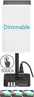 Alimentata 3 Way Dimmable Touch Control Bedside Table Lamp with 3 USB Charging Port and 2 AC Outlet,Minimalist LED Desk Night Light with Charger Base White Fabric Shade for Bed Room/Nightstand/Offic