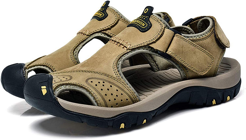 FINDDU herr Sandaler Genuine läder sommar strand strand strand Wading Water Sandals Andningsbara Slippers Man Casual skor, Khaki,7  10 dagar tillbaka