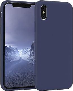 EAZY CASE Premium Silikon Handyhülle kompatibel mit Apple iPhone X/XS, Slimcover mit Kameraschutz und Innenfutter, Silikonhülle, Schutzhülle, Bumper, Handy Case, Hülle, Softcase, Nachtblau, Blau